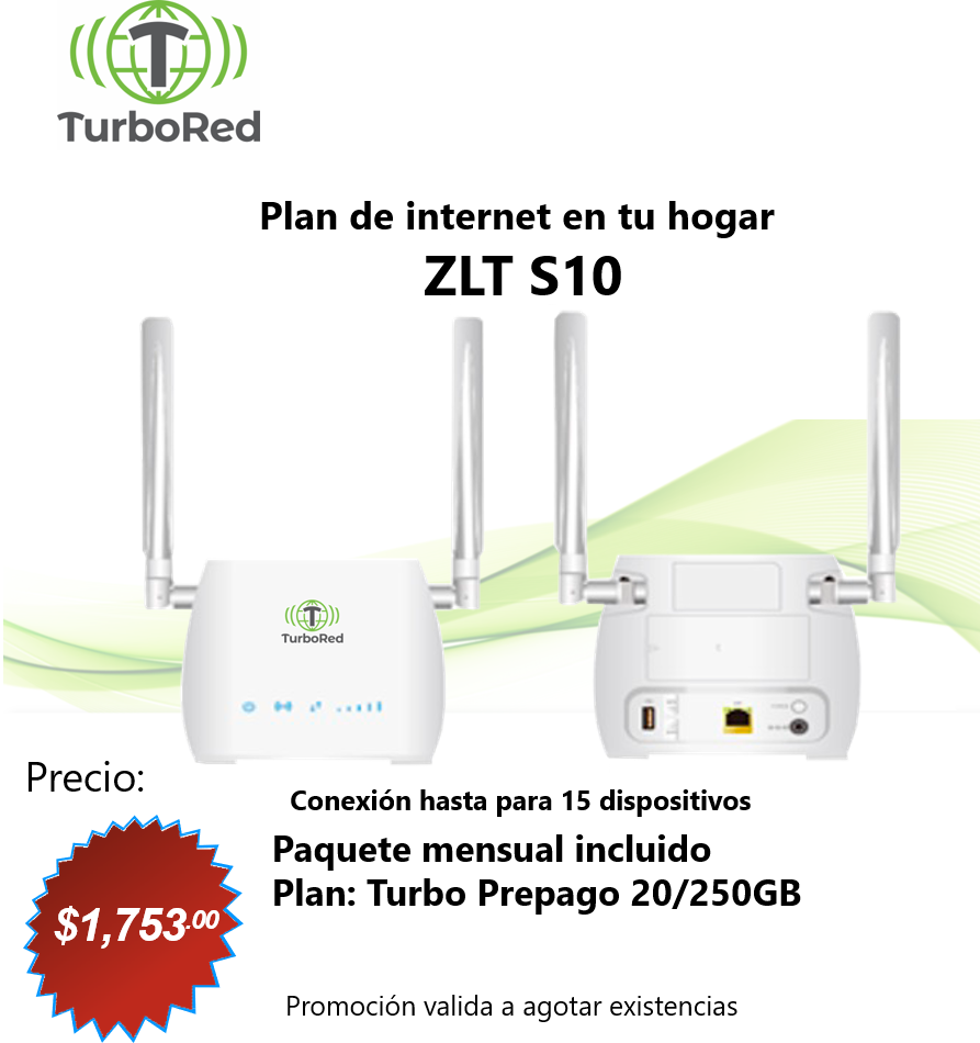 Combo Turbo Internet Hogar Prepago con 1 Mes Gratis Plan: Turbo 20/250GB