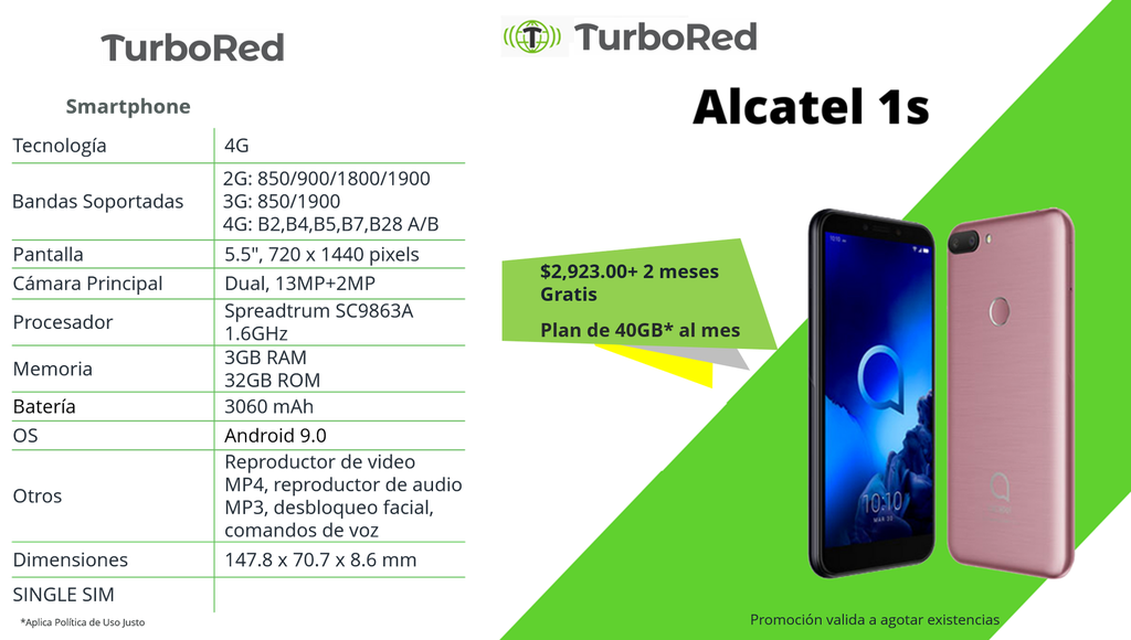 [ComboAlcate1S] Alcatel 1S +2 Meses Gratis Plan:Turbo 40GB